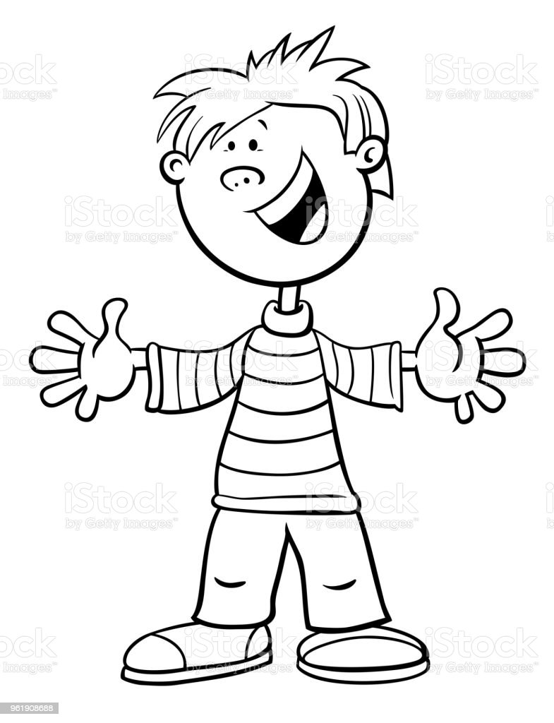 boy coloring pages | Funny Kid Boy Character Cartoon Color Page Stock Vector ...