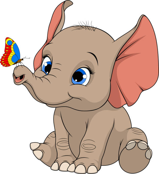 lustige kinder-elefant - elefantenkunst stock-grafiken, -clipart, -cartoons und -symbole