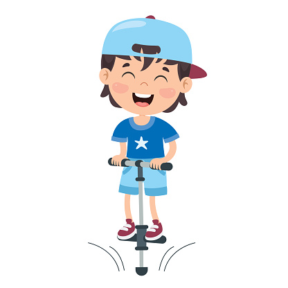 Funny Kid Playing With Pogo Stick - Stockowe grafiki wektorowe i więcej  obrazów Błąd - iStock