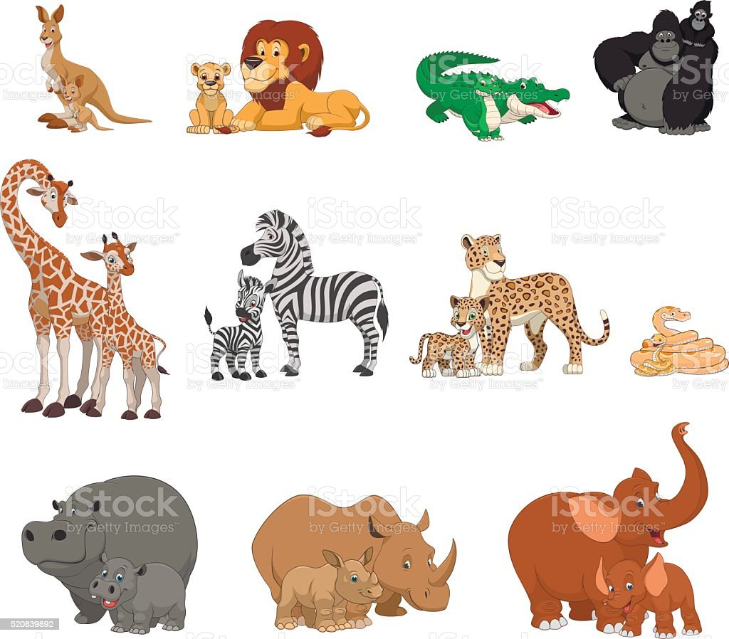 Funny kids animals and parents vector art illustration