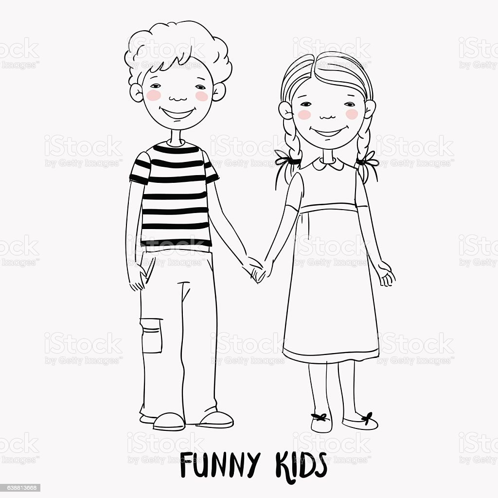 Funny kids. Boy and girl holding hands. Children becoming friends – Vektorgrafik