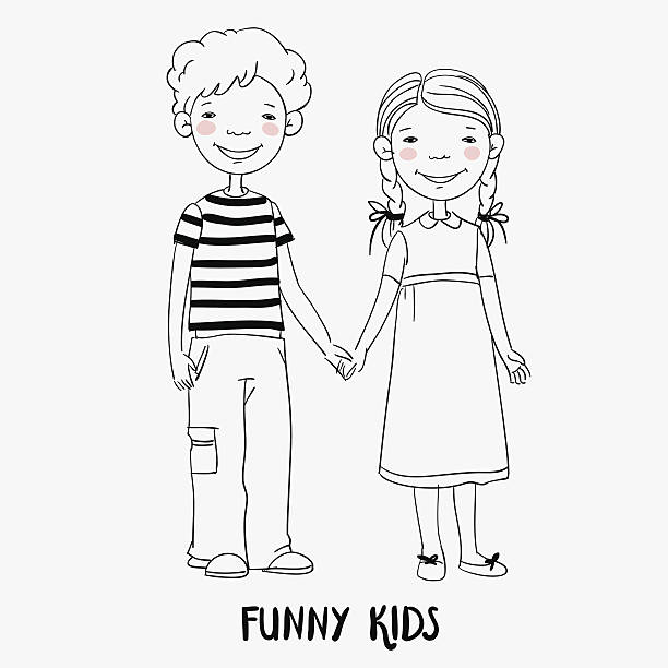 illustrations, cliparts, dessins animés et icônes de funny kids. boy and girl holding hands. children becoming friends - frère