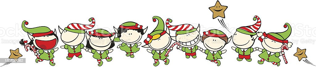 Funny kids - Christmas elves royalty-free stock vector art
