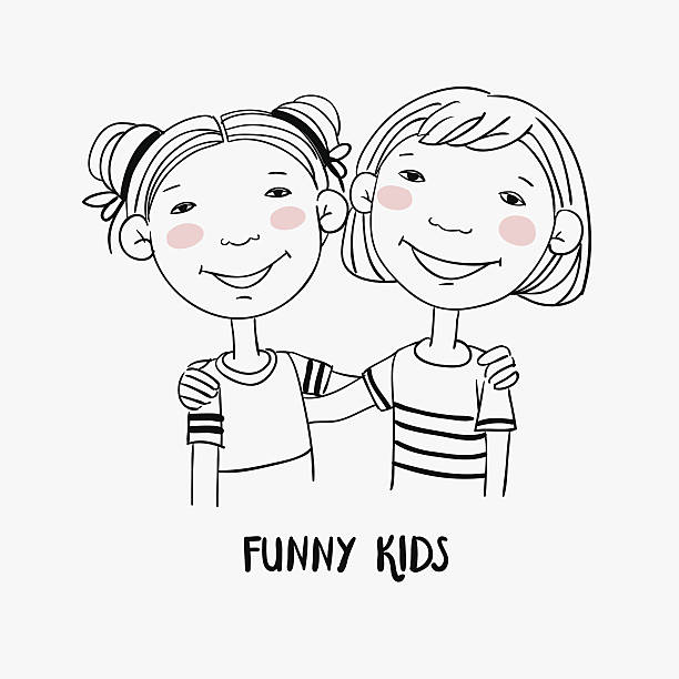 ilustraciones, imágenes clip art, dibujos animados e iconos de stock de funny kids. little girls hugging. children becoming friends - hermana