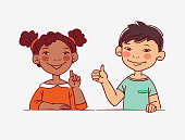 Funny kids. Multi-ethnic couple of happy children. Different cartoon faces icons