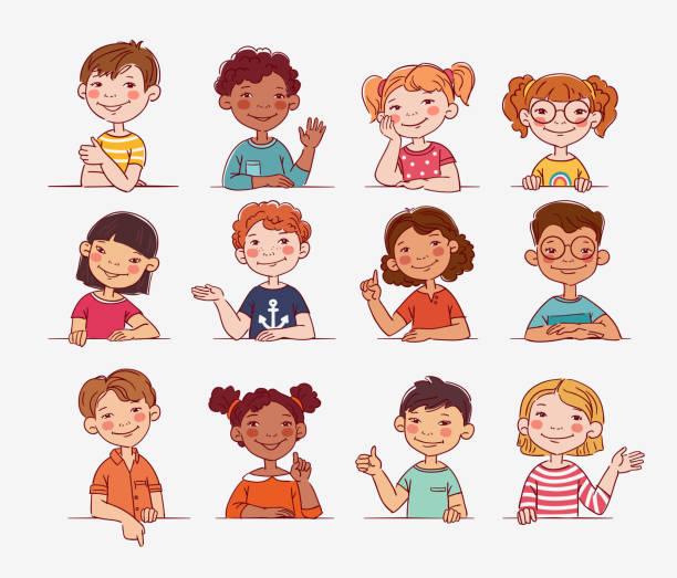 ilustrações de stock, clip art, desenhos animados e ícones de funny kids. multi-ethnic group of happy children. different cartoon faces icons - somente crianças