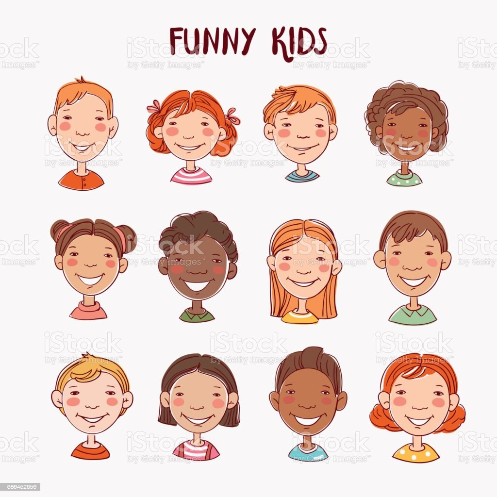 Funny kids. Multi-ethnic group of happy children. Different cartoon faces icons vector art illustration
