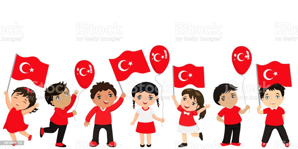 Funny kids of different races with various hairstyles with flags. graphic design to the Turkish holiday. royalty-free funny kids of different races with various hairstyles with flags graphic design to the turkish holiday stock illustration - download image now