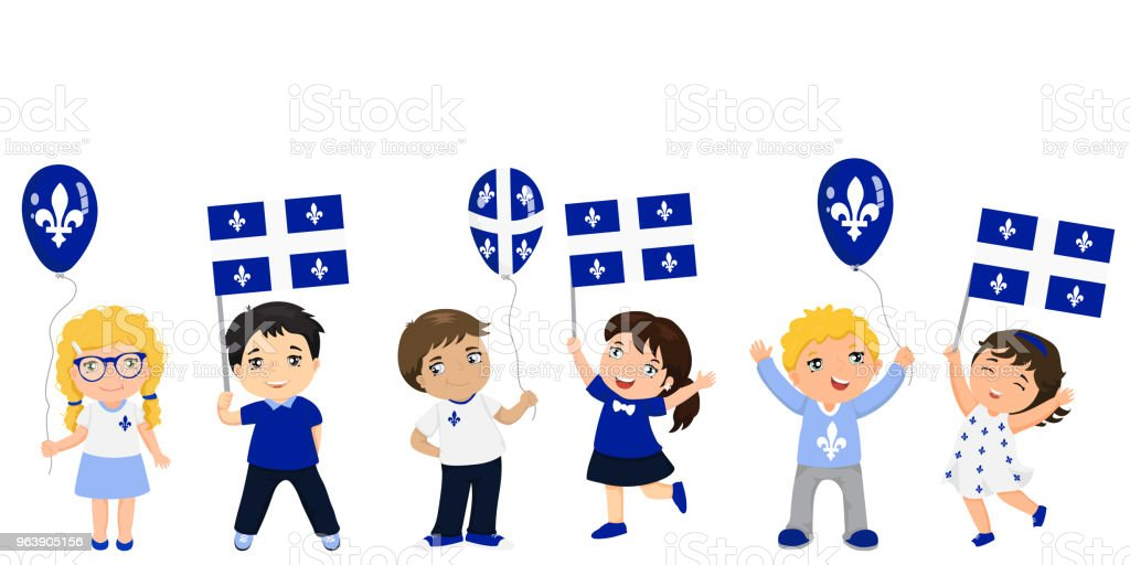 Funny kids of different races with various hairstyles with flags. graphic design to the Quebec holiday. - Royalty-free 1834 stock vector