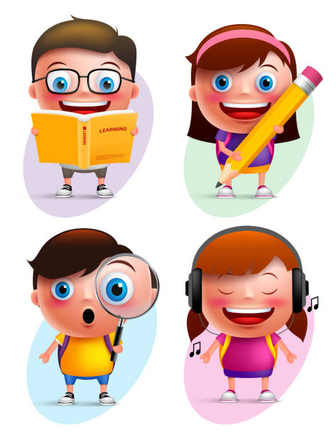 Funny kids vector characters colorful collection reading book and writing vector art illustration