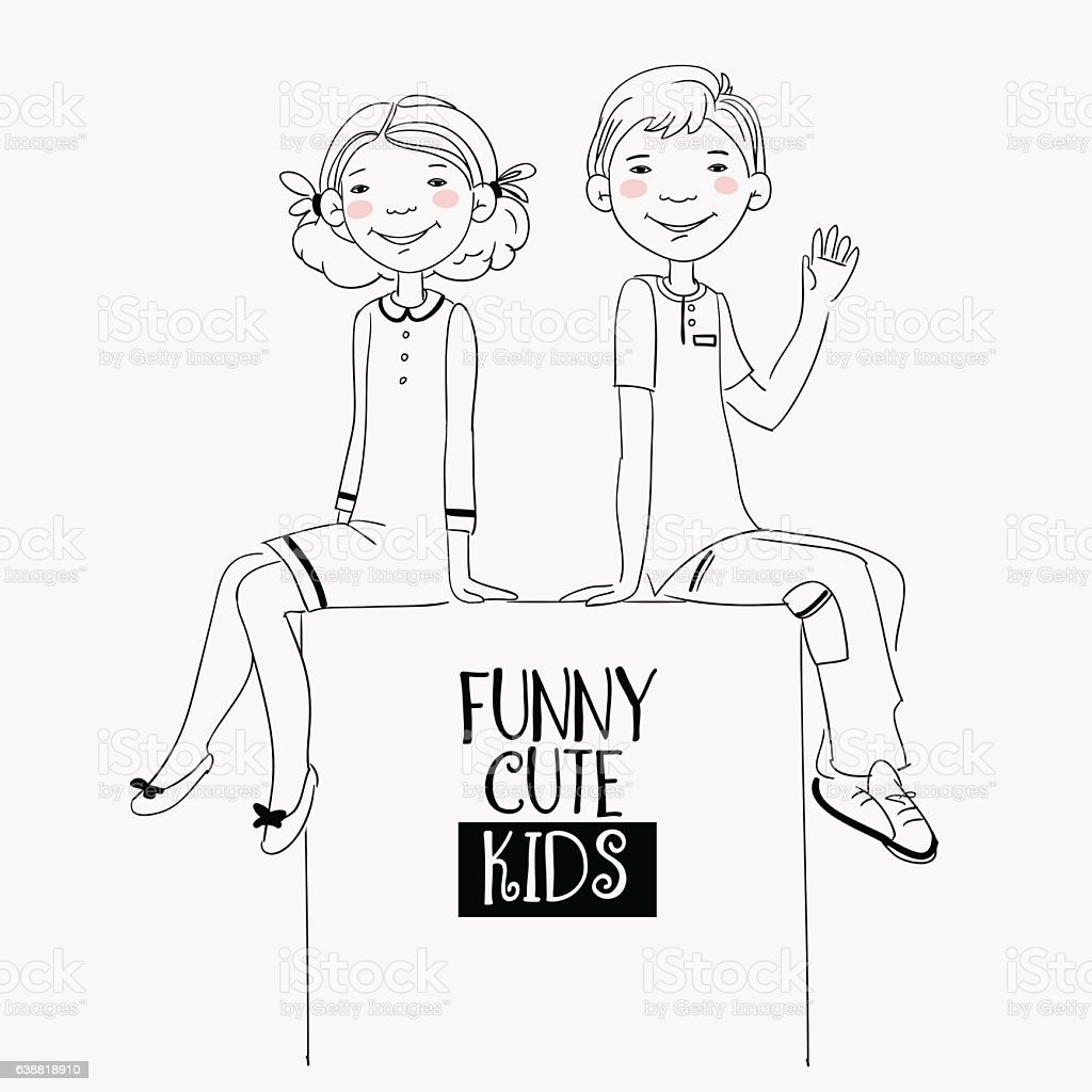 Funny kids with whiteboard. Cute, smiling boy and girl vector art illustration