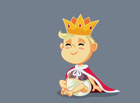 Funny King Baby With Gold Crown and Mantle
