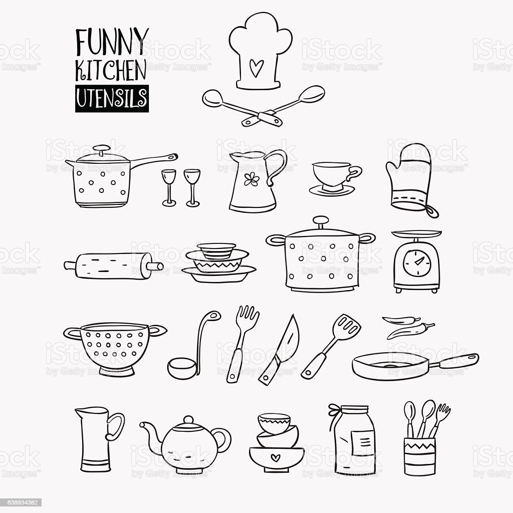 Funny kitchen utensils set vector art illustration