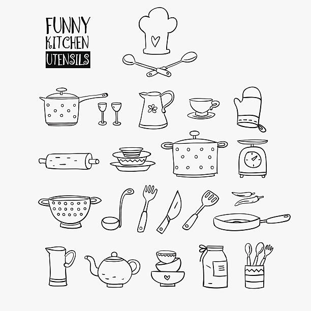 Funny kitchen utensils set Funny kitchen utensils set made of pan, tumbler glass, pitcher, cup, rolling pin, plate, casserole, balance, flatware, soup ladle, knife, spoon,fork, teapot, mitten and colander cooking black and white stock illustrations