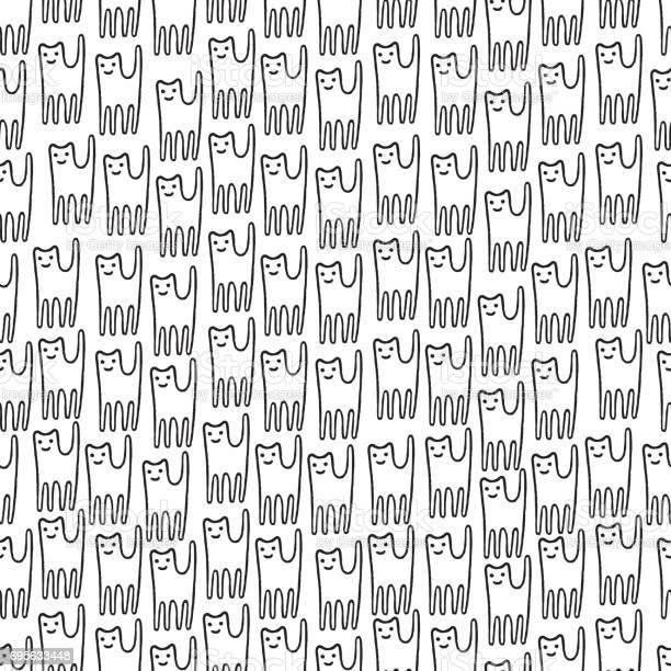 Funny kitten hand drawn seamless pattern black and white line art for vector id695633448?b=1&k=6&m=695633448&s=612x612&h=b8pa3mjmvdr70rt0ixcv94gm6upfuyujdu5jbnvxo1a=