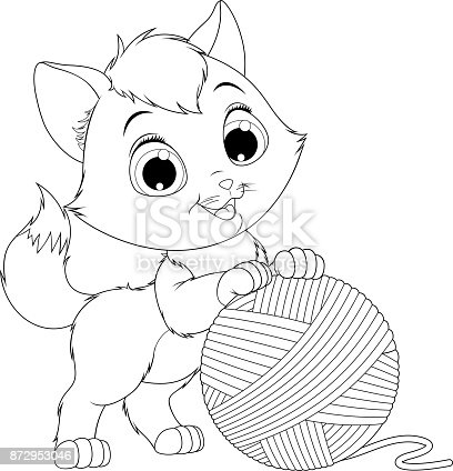 istock funny kitten with a ball of threads 872953046