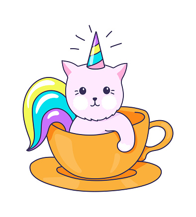 Funny kitty character. Kitten with rainbow horn and horse tail. Cat unicorn in tea cup. Cafe logo mockup, kawaii print for clothes, trendy web sticker. Vector cute animal illustration
