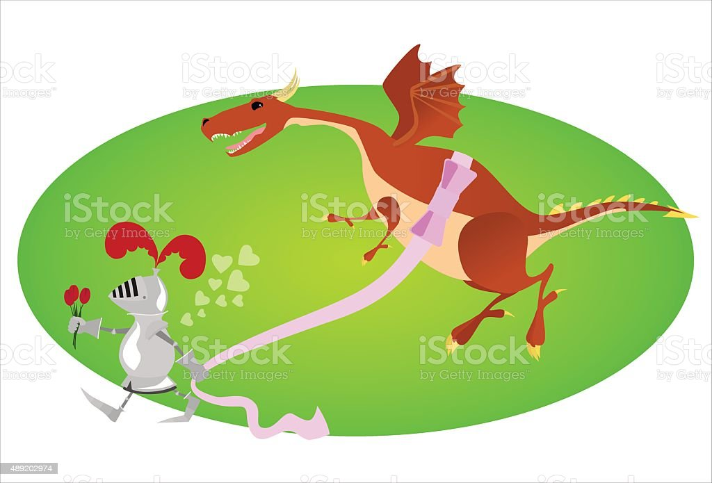 Funny knight and big gift for Valentine day vector art illustration