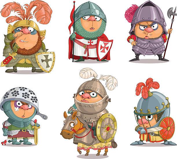 funny knights - reiter stock-grafiken, -clipart, -cartoons und -symbole