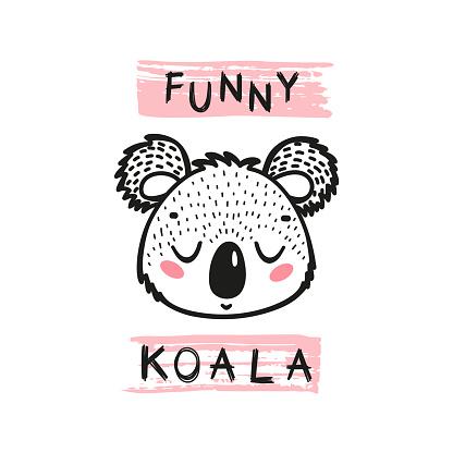 Funny Koala Bear Face. Doodle Cute Koala Head for Tee Print Design for Kids. Vector Cartoon Little Baby Animal. Scandinavian Card, Print or Poster Design