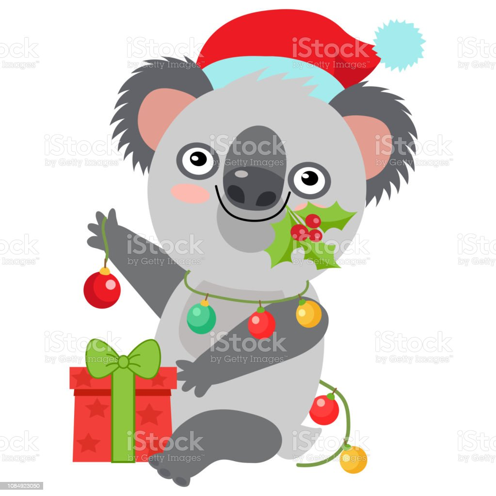 Funny Koala Christmas Vector. Merry Christmas From Australia Koala...