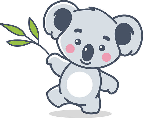 funny koala on white - koala stock illustrations