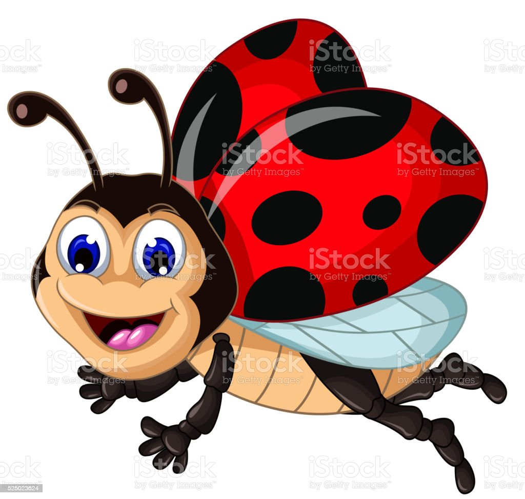 funny ladybugs flying cartoon for your design vector art illustration