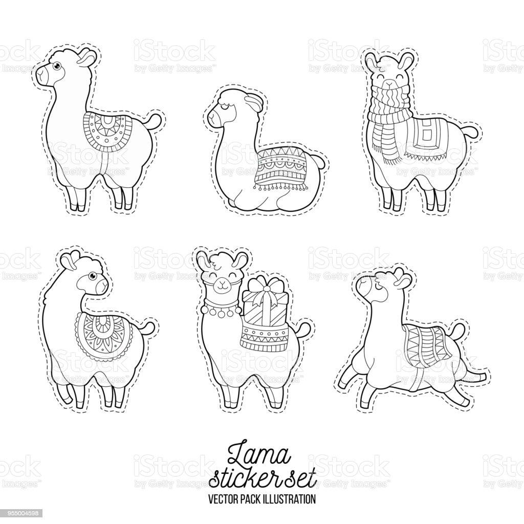 grappige lama volwassen illustratie patches lama karakter