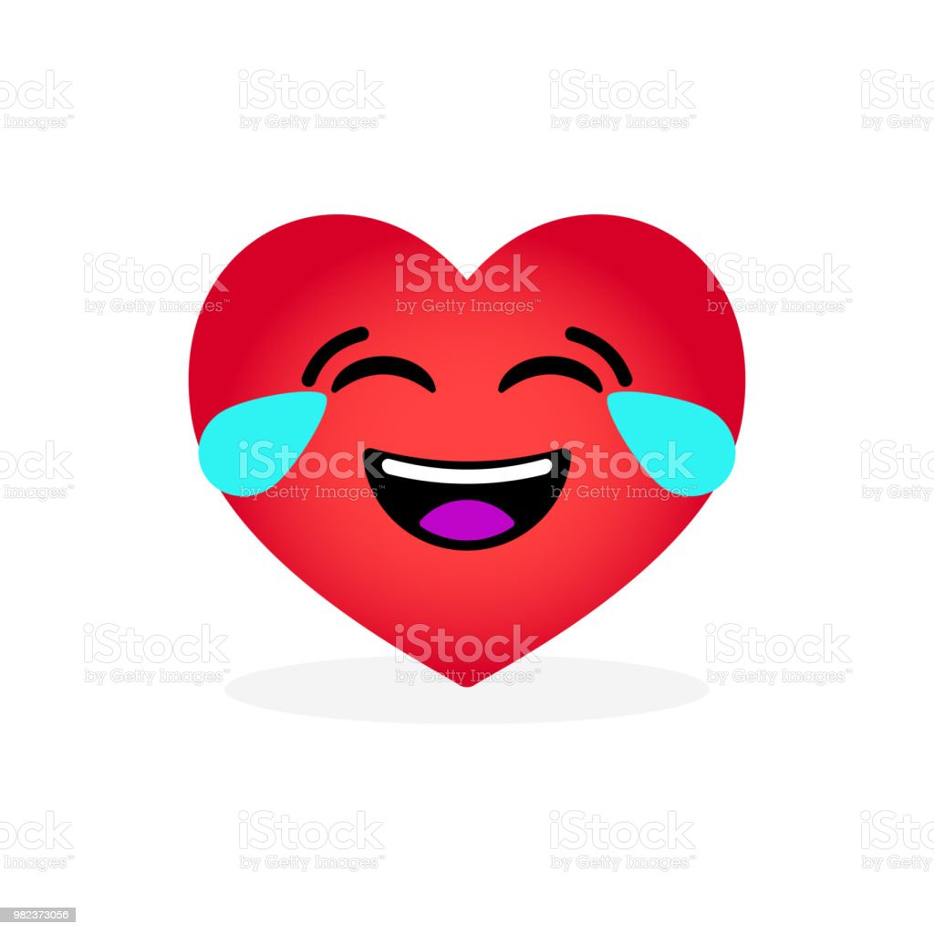 Funny laughing heart emoticon. Emotional icon vector art illustration