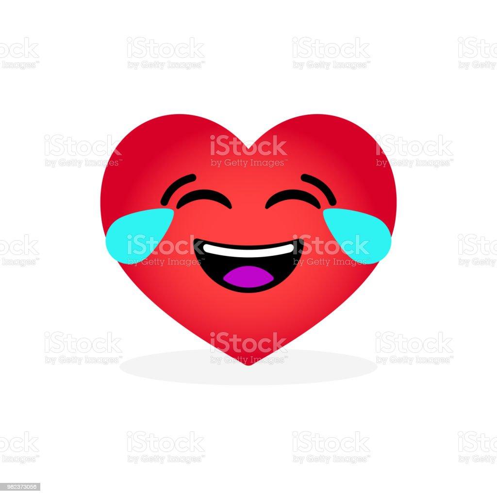 Emoticon de coração rir engraçado. Ícone emocional - ilustração de arte em vetor