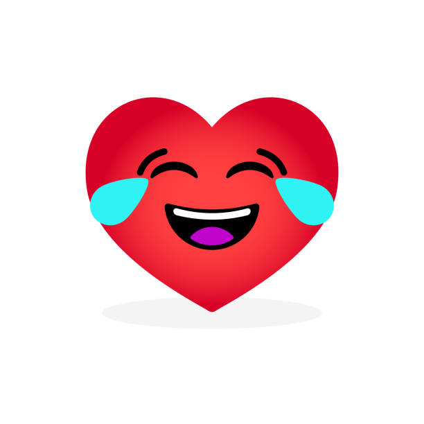 funny laughing heart emoticon. emotional icon - tears of joy emoji stock illustrations