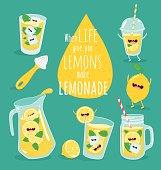 Funny lemonade set. Lemon, ice, pitcher, glass, juicer. Vector illustration.