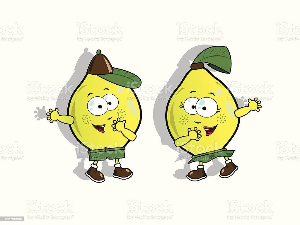 Funny lemons vector art illustration