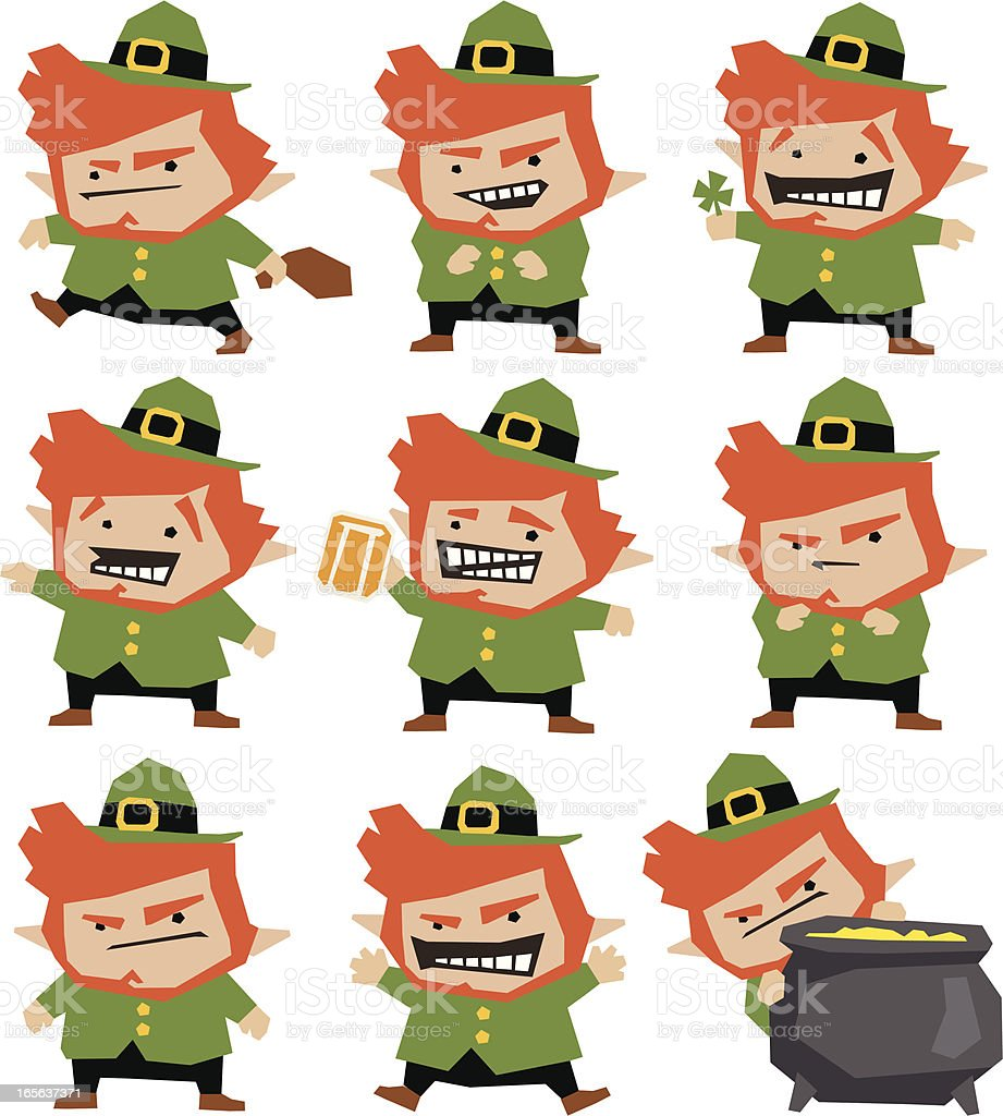 funny leprechaun collection stock vector art 165637371 istock