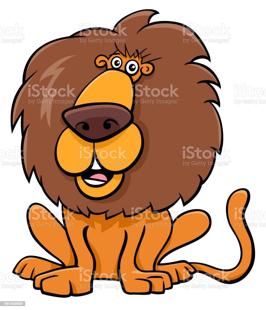 面白いライオン動物キャラ漫画イラスト - おとぎ話のベクターアート素材