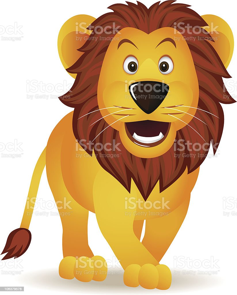 Funny lion cartoon vector art illustration