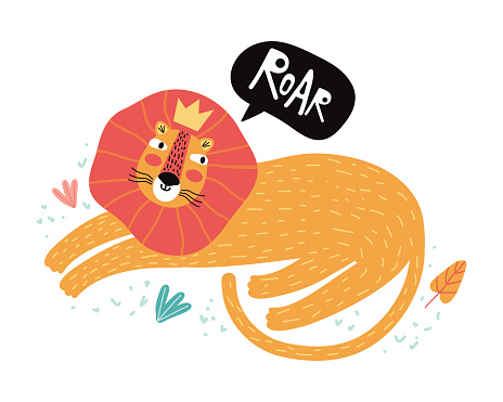 Funny lion in tropical leaves. Flat vector illustration. Wild exotic animals. Cute animal cartoon character idea for child printable stuff and t shirt, greeting card, nursery wall art, sticker.