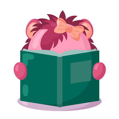 Funny lion with book in flat design with shadows.