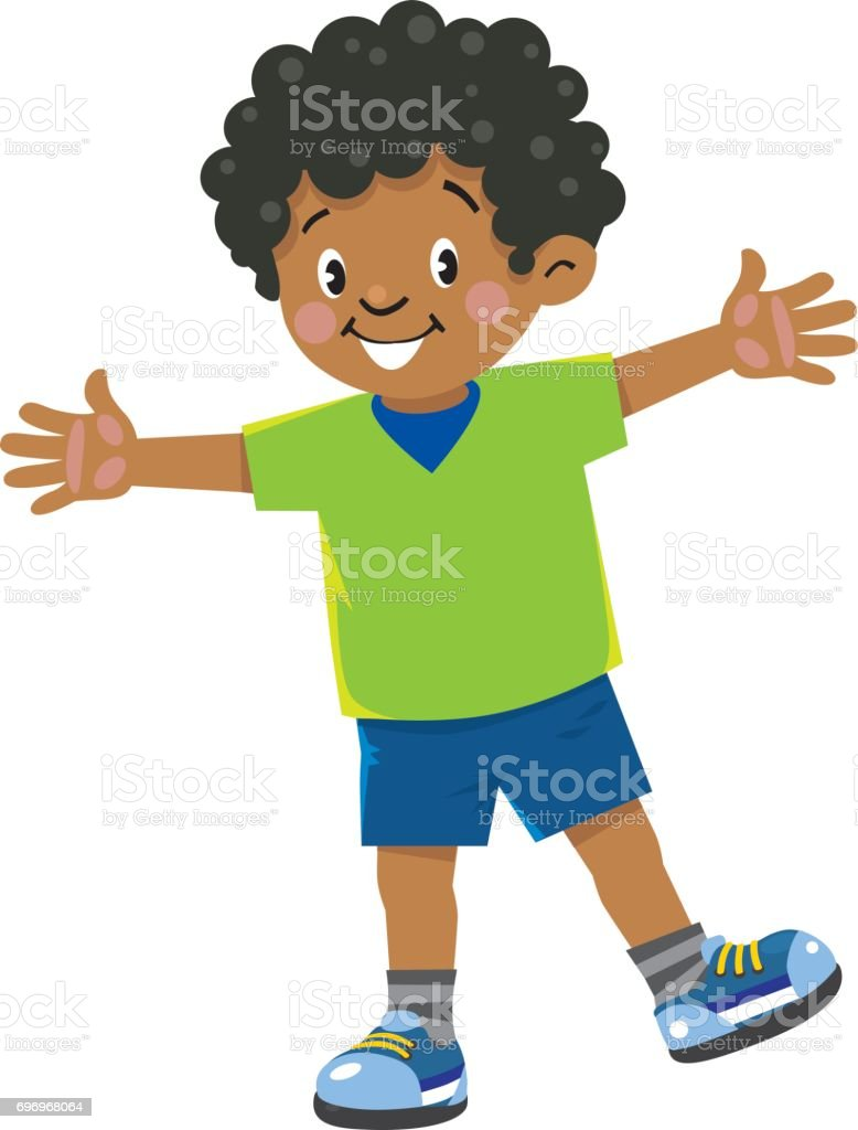 Funny little african boy vector art illustration
