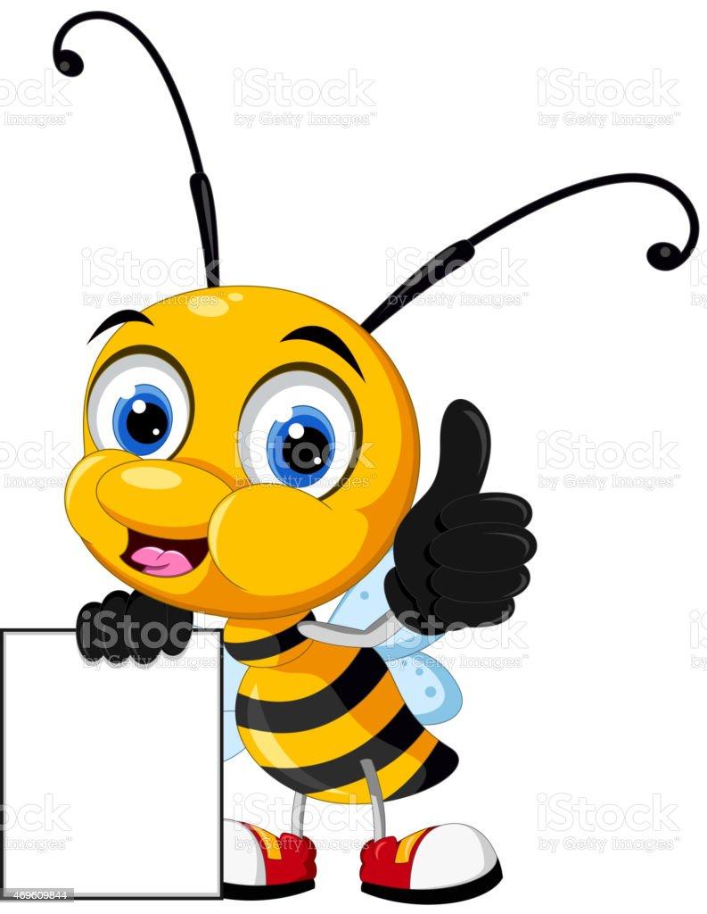 Funny Little Bee Cartoon Holding Leere Schild Stock Vektor Art Und