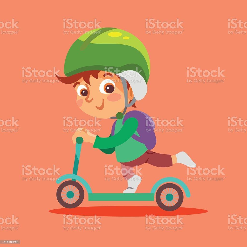 Funny little boy riding kid scooter. vector art illustration