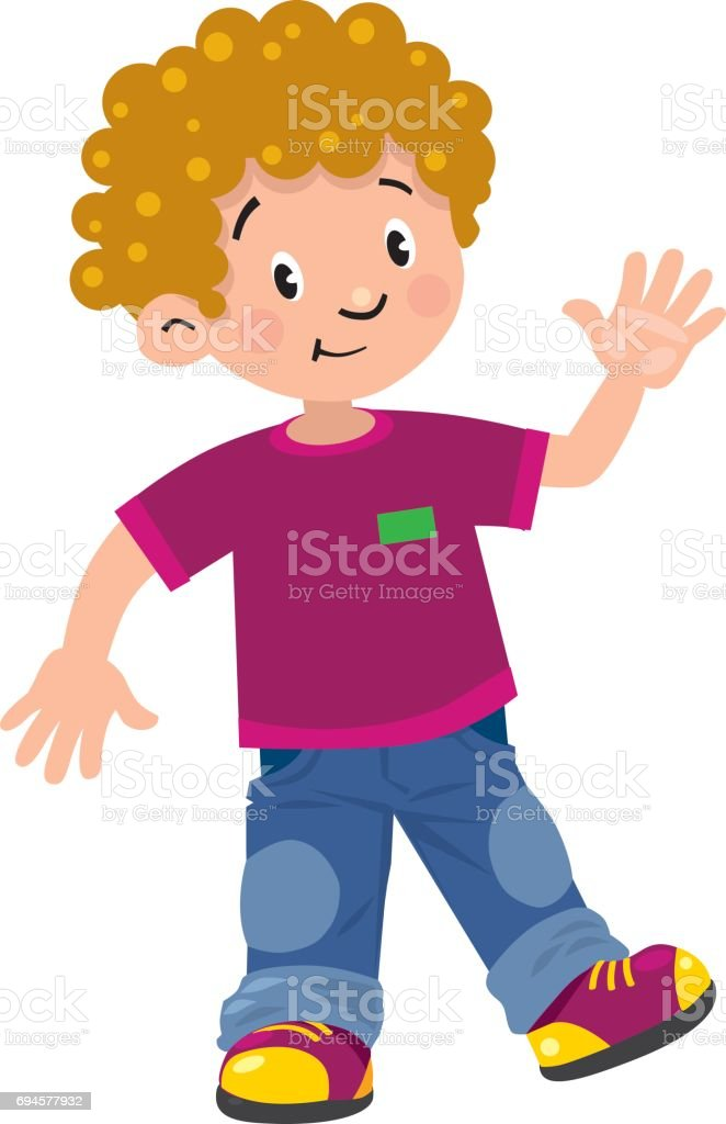 Funny little boy vector art illustration
