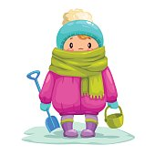 Funny little cartoon kid with toy bucket and shovel