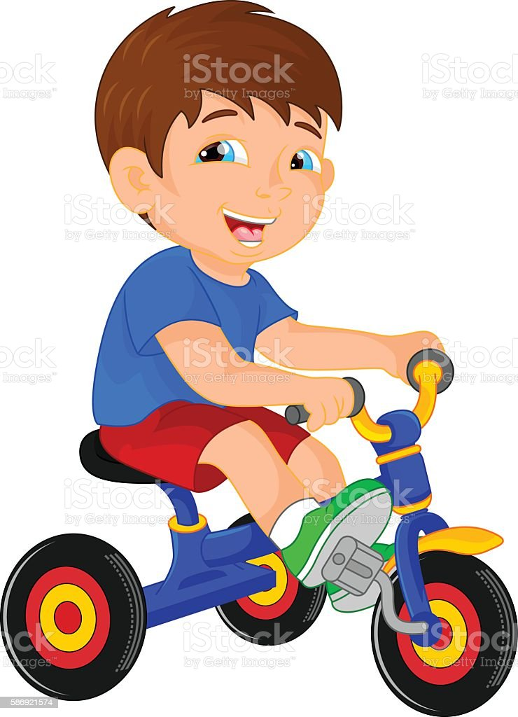 funny little child on tricycle vector art illustration