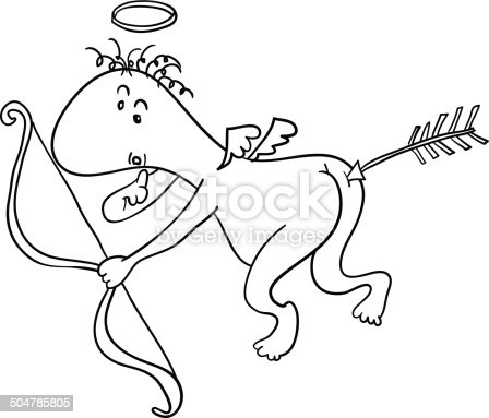 Ilustración de Funny Poco Cupido y más banco de imágenes de Amor ...