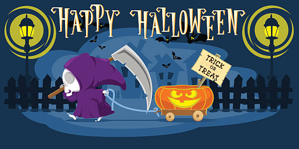 Funny little death with a large scythe. Cartoon style. Vector Funny little death with a large scythe driving small cart with Halloween pumpkin on the street of the town. Cartoon style. Concept design for banners, posters or cards. Vector illustration spooky halloween town stock illustrations