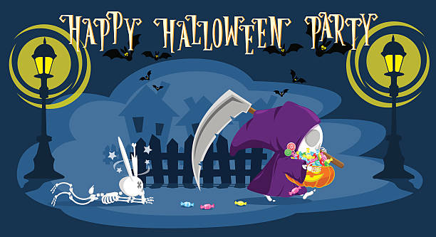 Funny little death with a large scythe. Cartoon style. Vector Funny little death with a large scythe punished rabbit skeleton and go away with a pumpkin full candy. Cartoon style. Development of a concept for banners, posters or cards. Vector illustration spooky halloween town stock illustrations