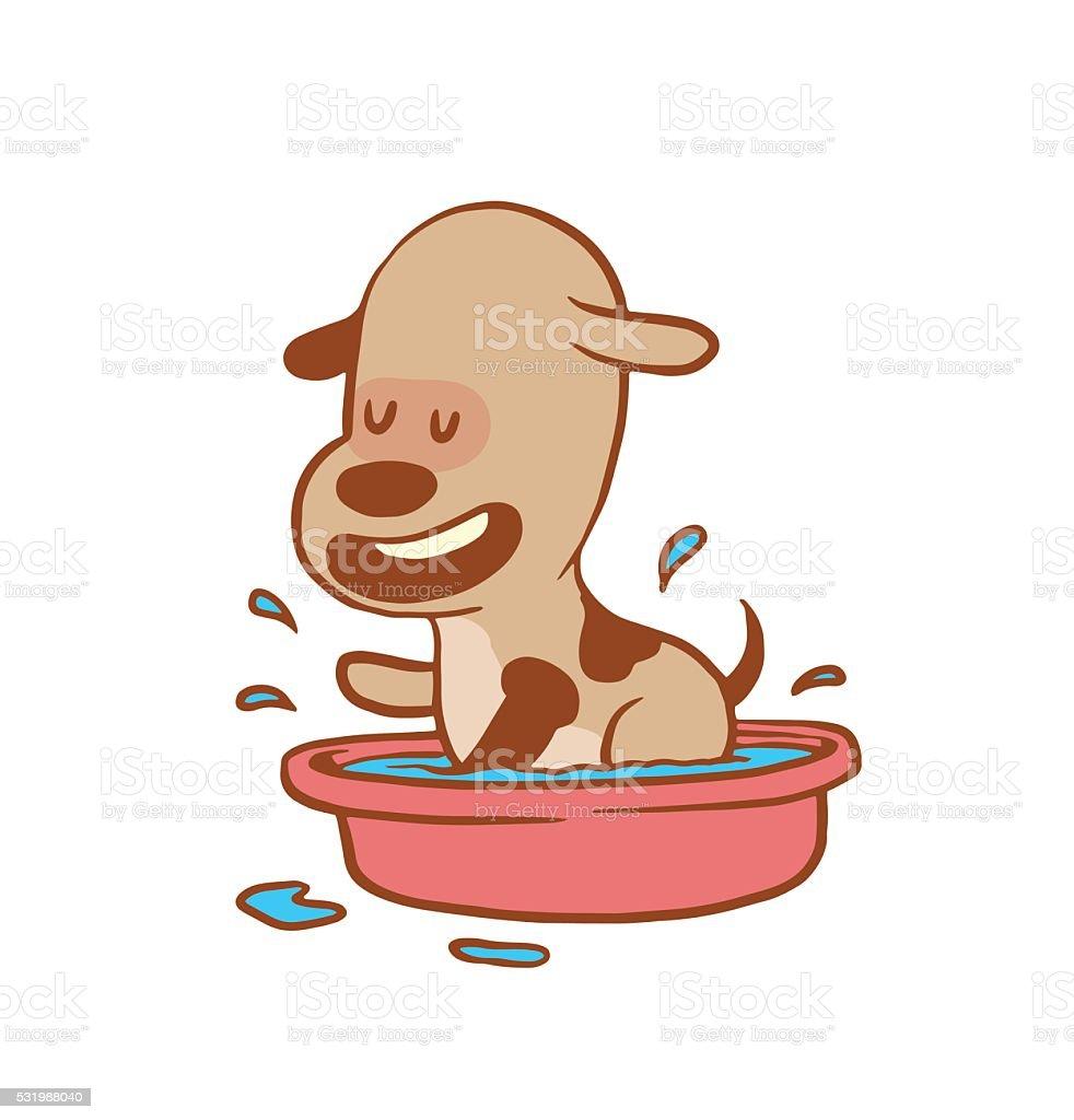 Lustige Kleine Hund Baden In Die Basin Farbe Bild Stock Vektor Art