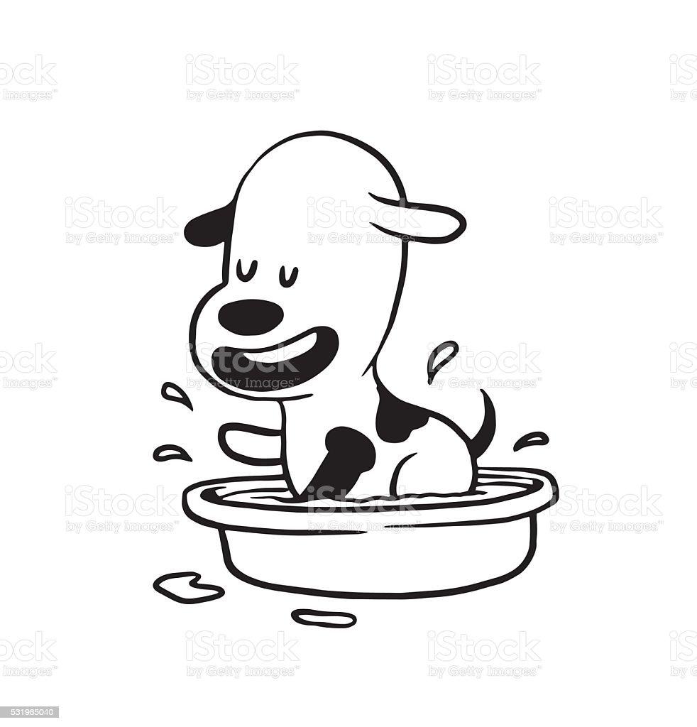 Lustige Kleine Hund Baden In Die Basin Monochrom Stock Vektor Art