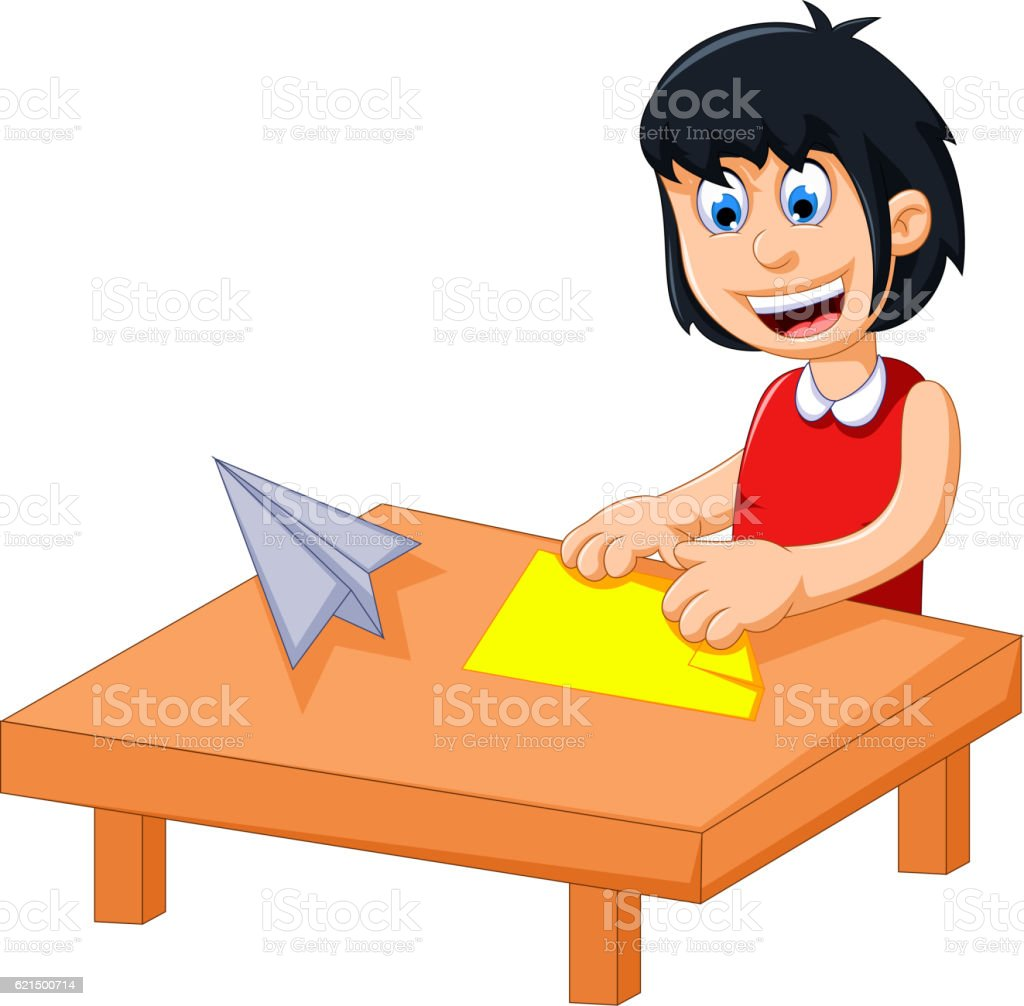 funny little girl cartoon playing folding paper Lizenzfreies funny little girl cartoon playing folding paper stock vektor art und mehr bilder von fliegen